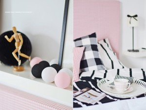 Cotton Ball Lights - Black and Pink 10 kul