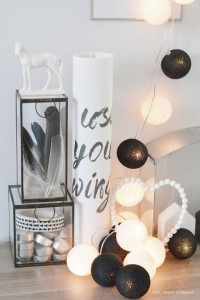 Cotton Ball Lights - Black&white 35 kul