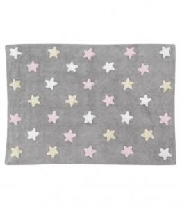 Lorena Canals - Dywan Tricolor Stars Gris/Rosa 120x160cm